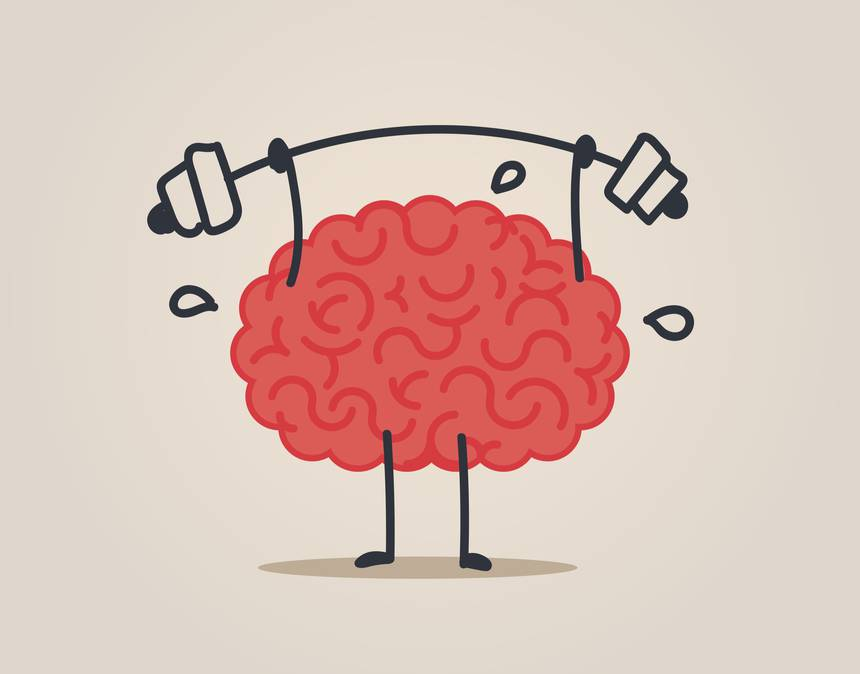 Image of brain lifting weights.