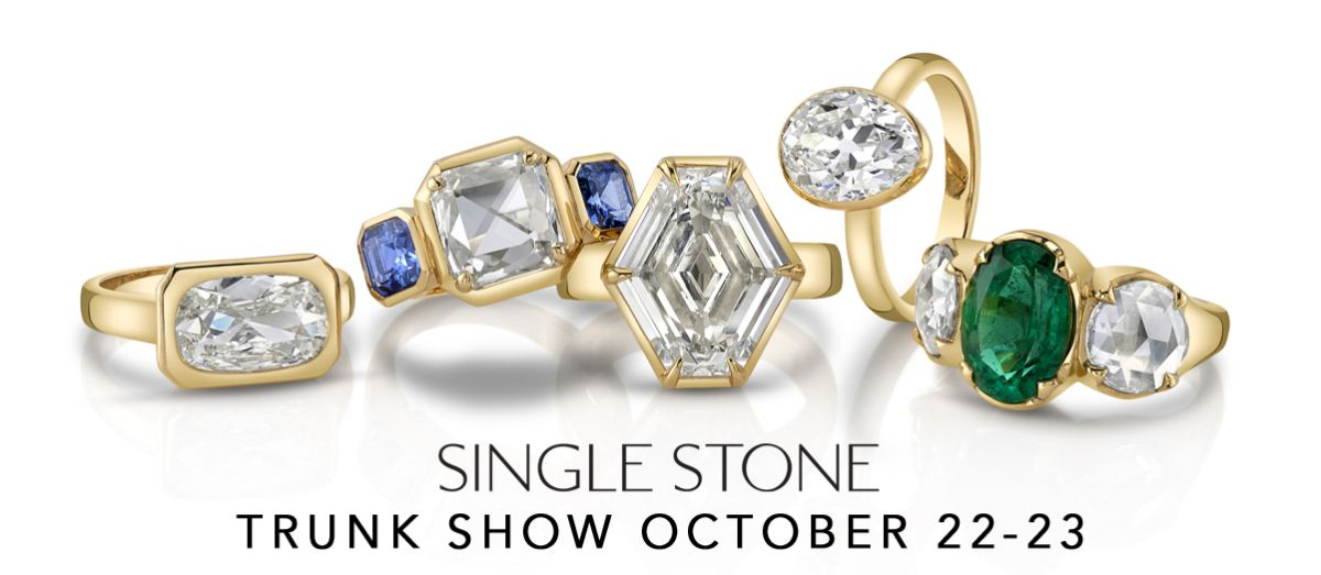 """rings on white background with words below """"Single stone trunk show October 22-23"""""""
