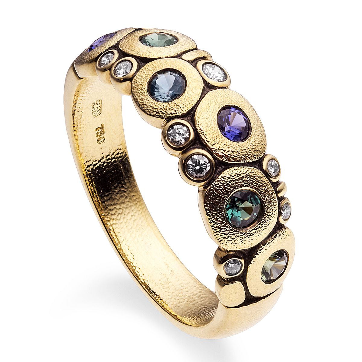 18K yellow gold Alex Sepkus carved ring with alexandrite and diamonds.