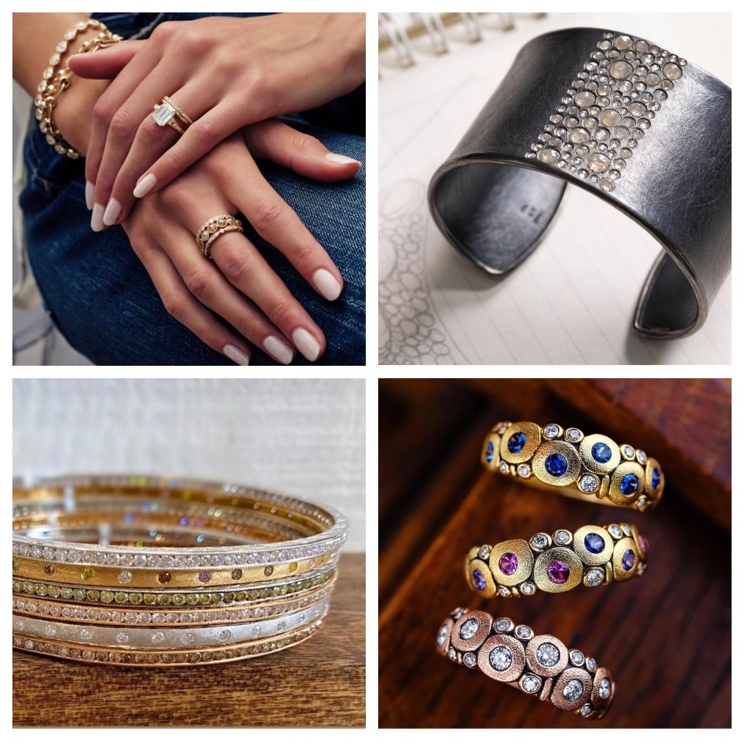 4 jewelry images. Upper left:two hands crossed with rings and bracelets. Upper right: silver cuff bracelet with diamonds. Lower left: stack of multicolored diamond bracelets. Lower Right: 3 gold rings on a wood background