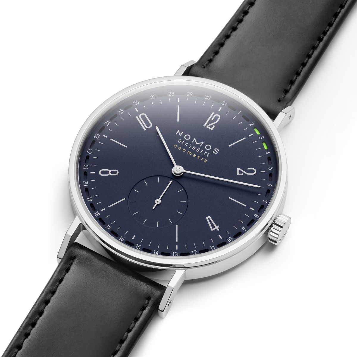 Nomos Midnight Update. Blue dial with electric green date indicator.