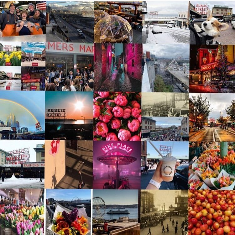 small images of Seattle including Pike Place Market and the Spheres.