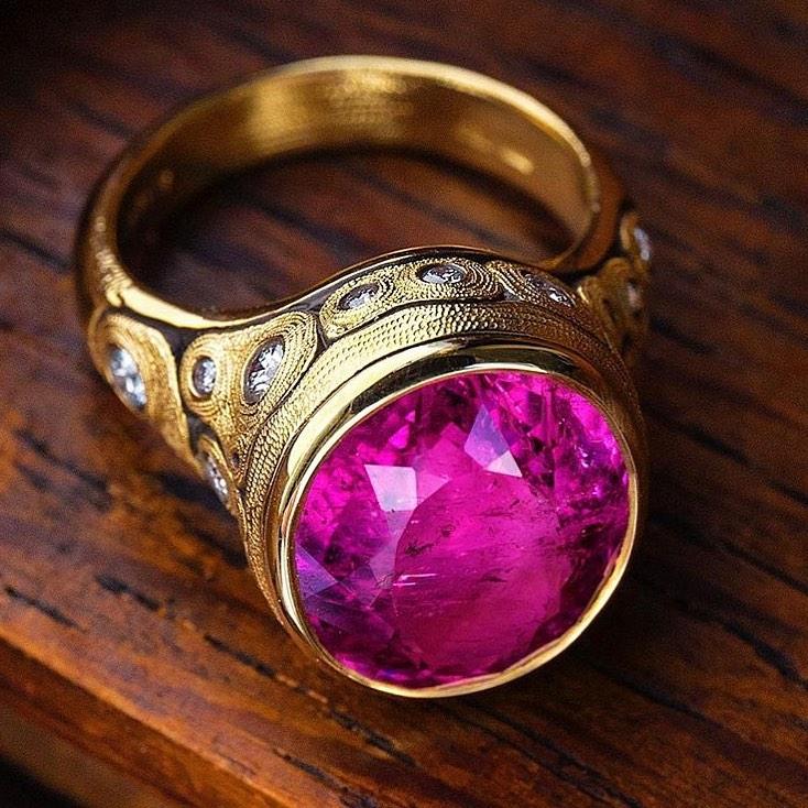 Alex Sepkus pink tourmaline oval ring