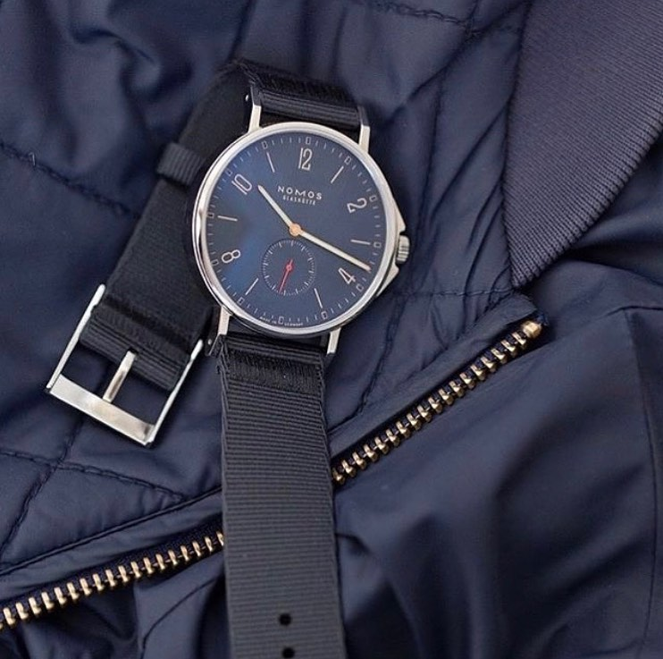 Nomos Ahoy Atlantic blue dial on blue coat