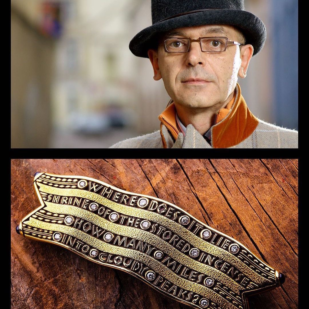 photo of Alex Sepkus above. Below is a photo of a gold brooch