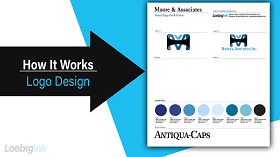 How It Works - Logo Design, white and blue lettering on black arrow
