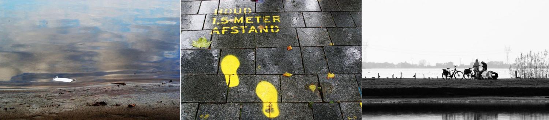 corona drieluik sharon mondkapje in water voetstappen 1.5 meter afstand fietsende ouderen