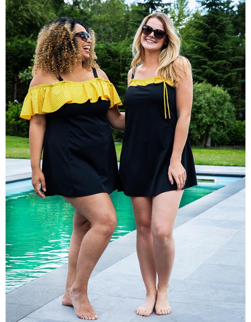 Dresskini swim tankinitop Portofino in zwart/geel