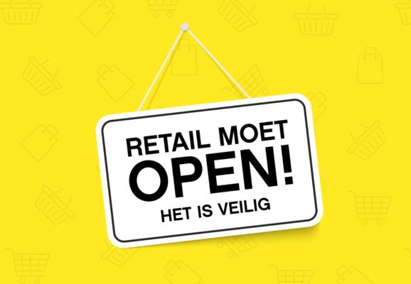 bord met tekst± Retail moet open! het is veilig