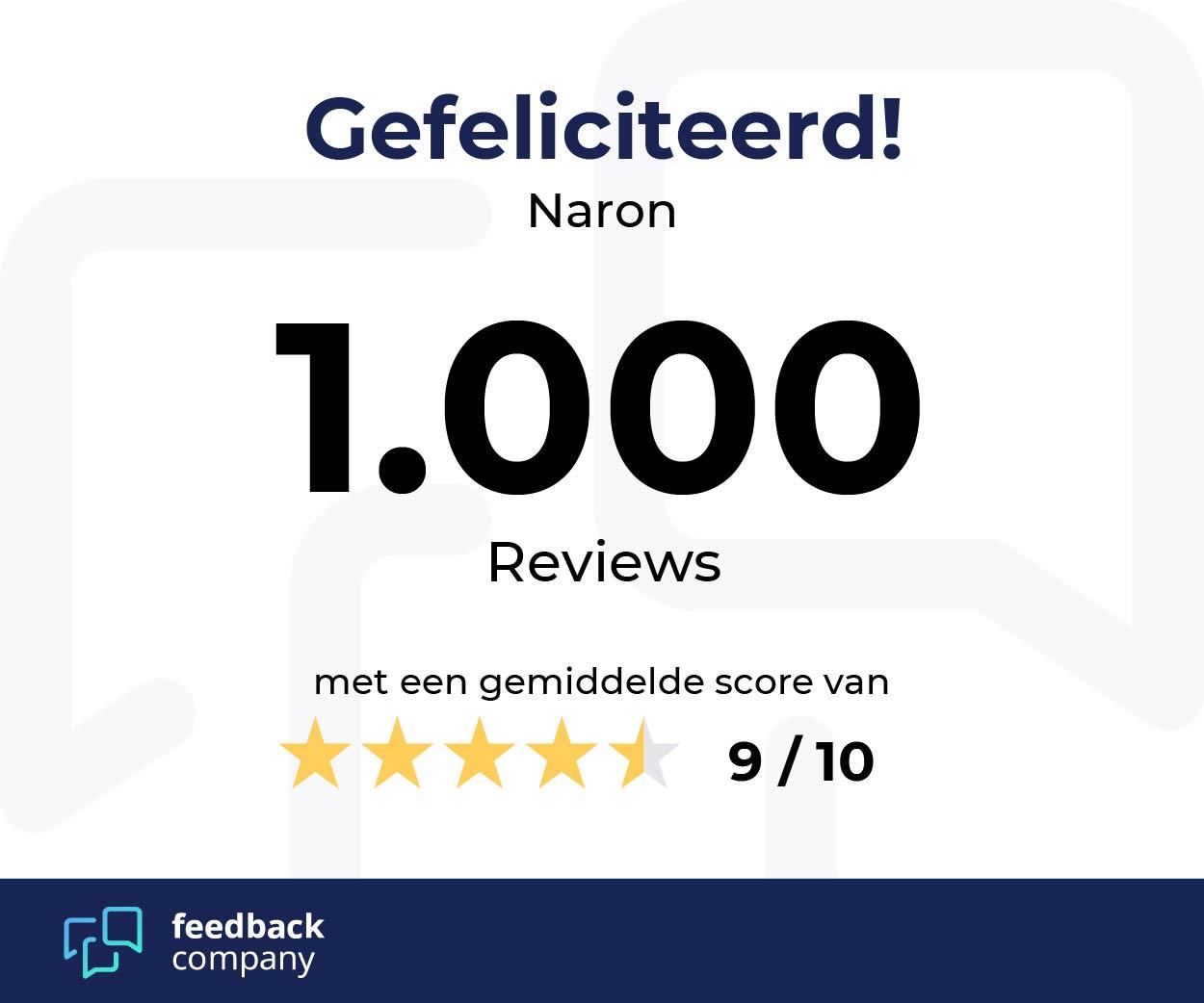 Naron heeft de 1000 revieuws gehaald bij feedback company