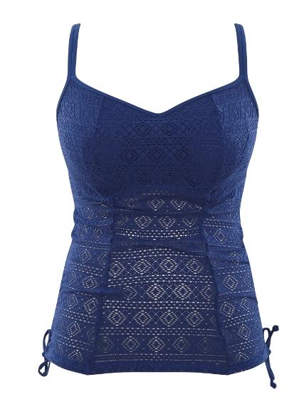 Panache Swim Anya crochet padded tankini top in french blue