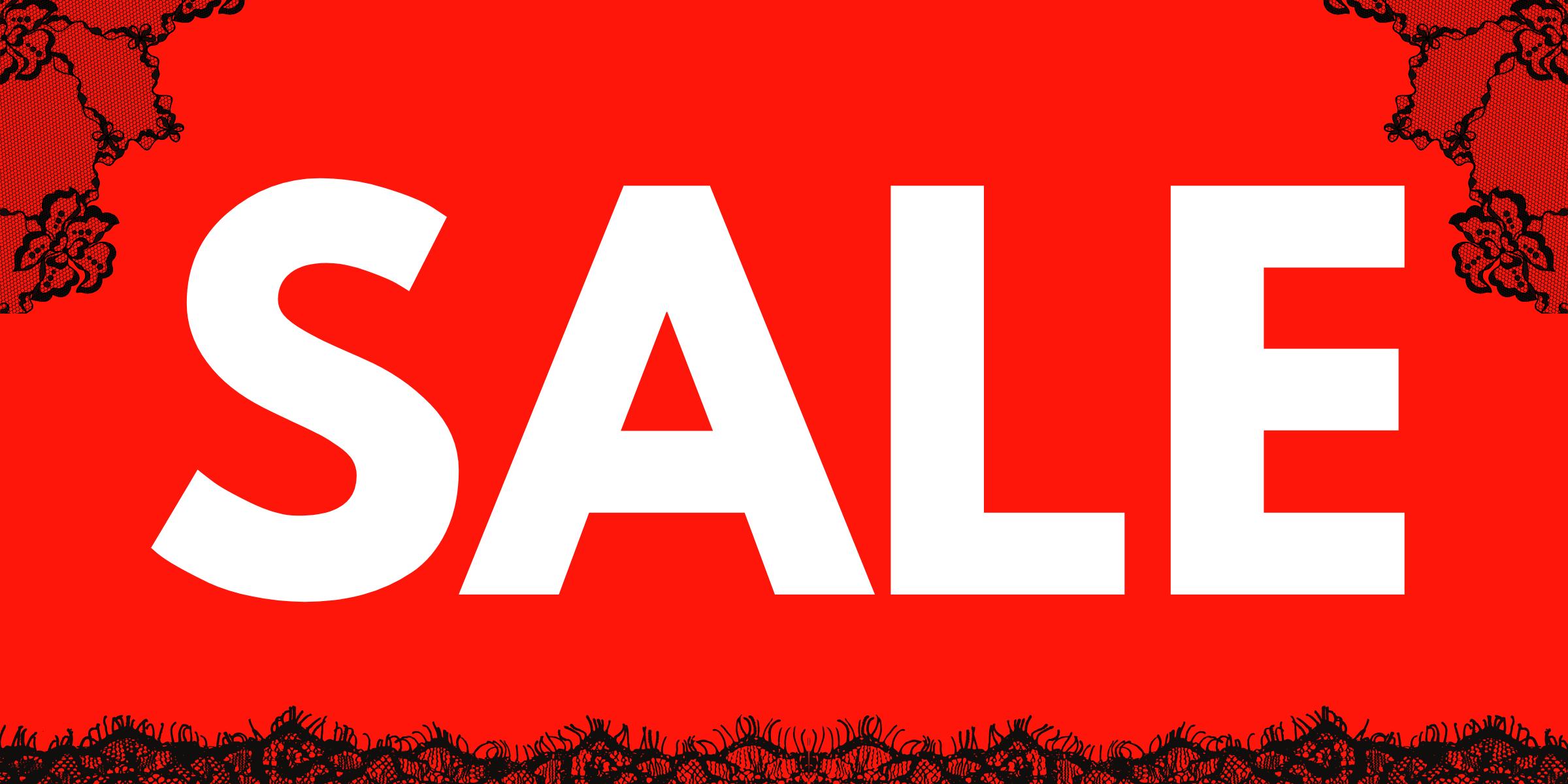 Sale banner met kant aan de randen