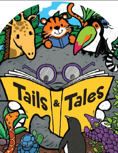 """Illustrated animals reading a book, """"Tails & tales"""""""