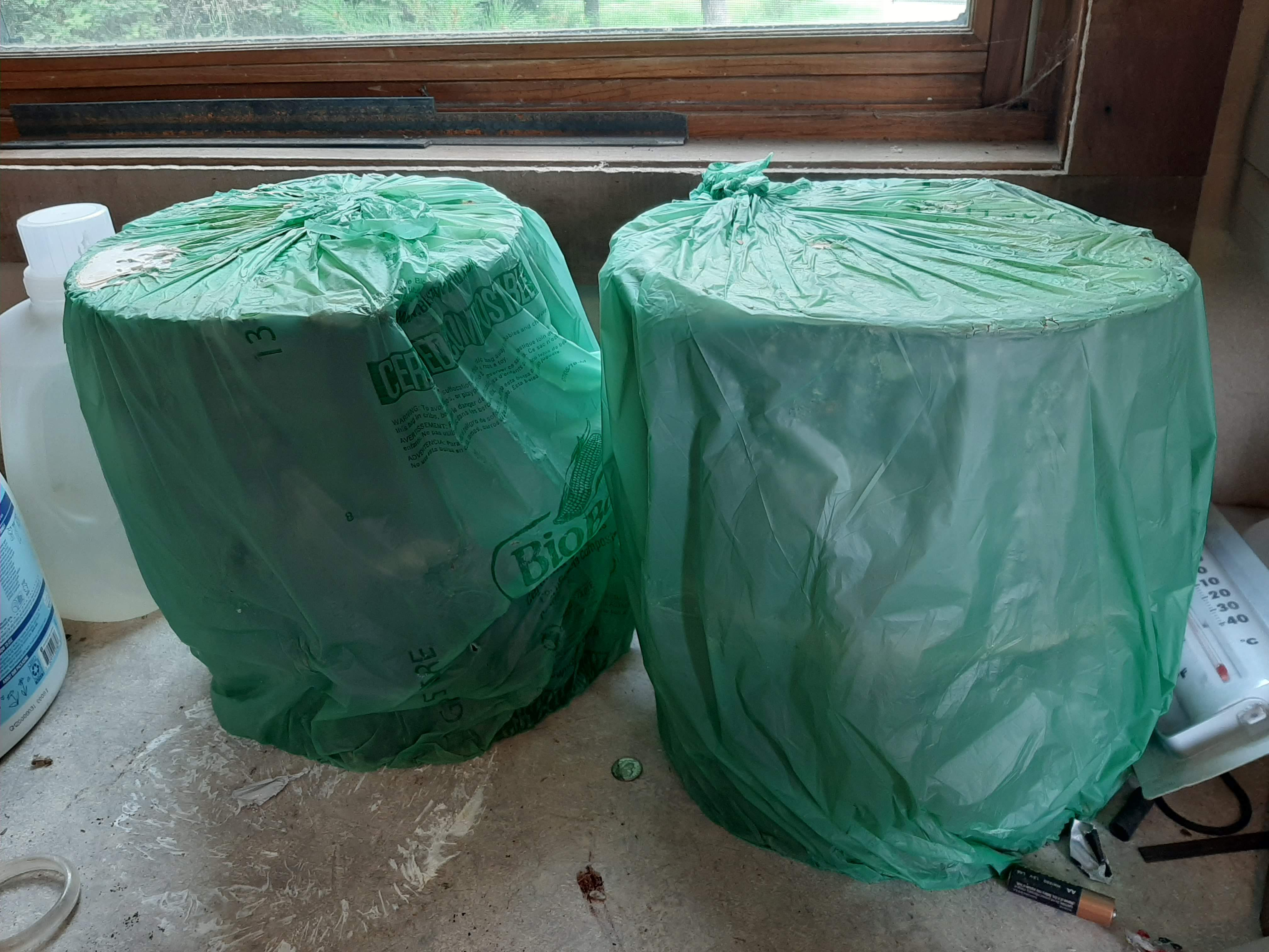 small logs wrapped in green plastic sitting on counter top