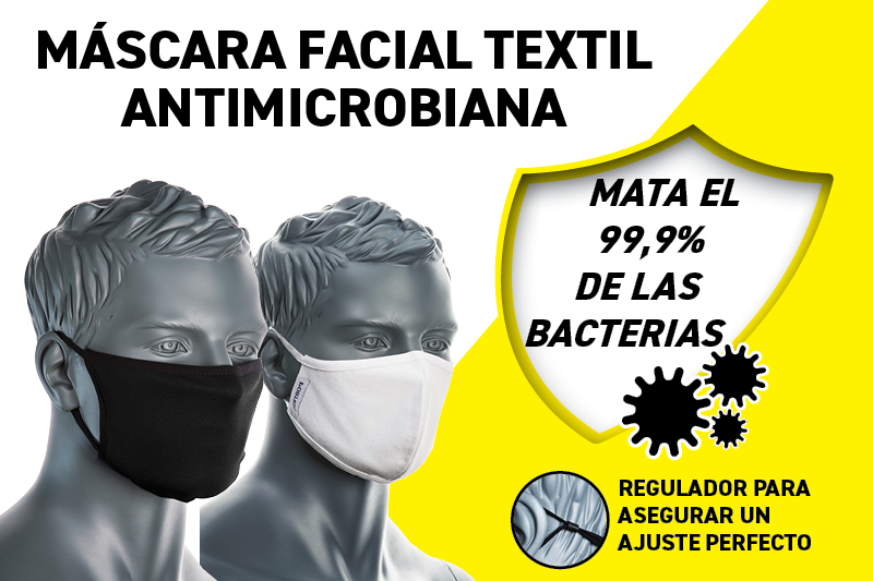 Máscara textil facial de tres capas antimicrobiana reutilizable.