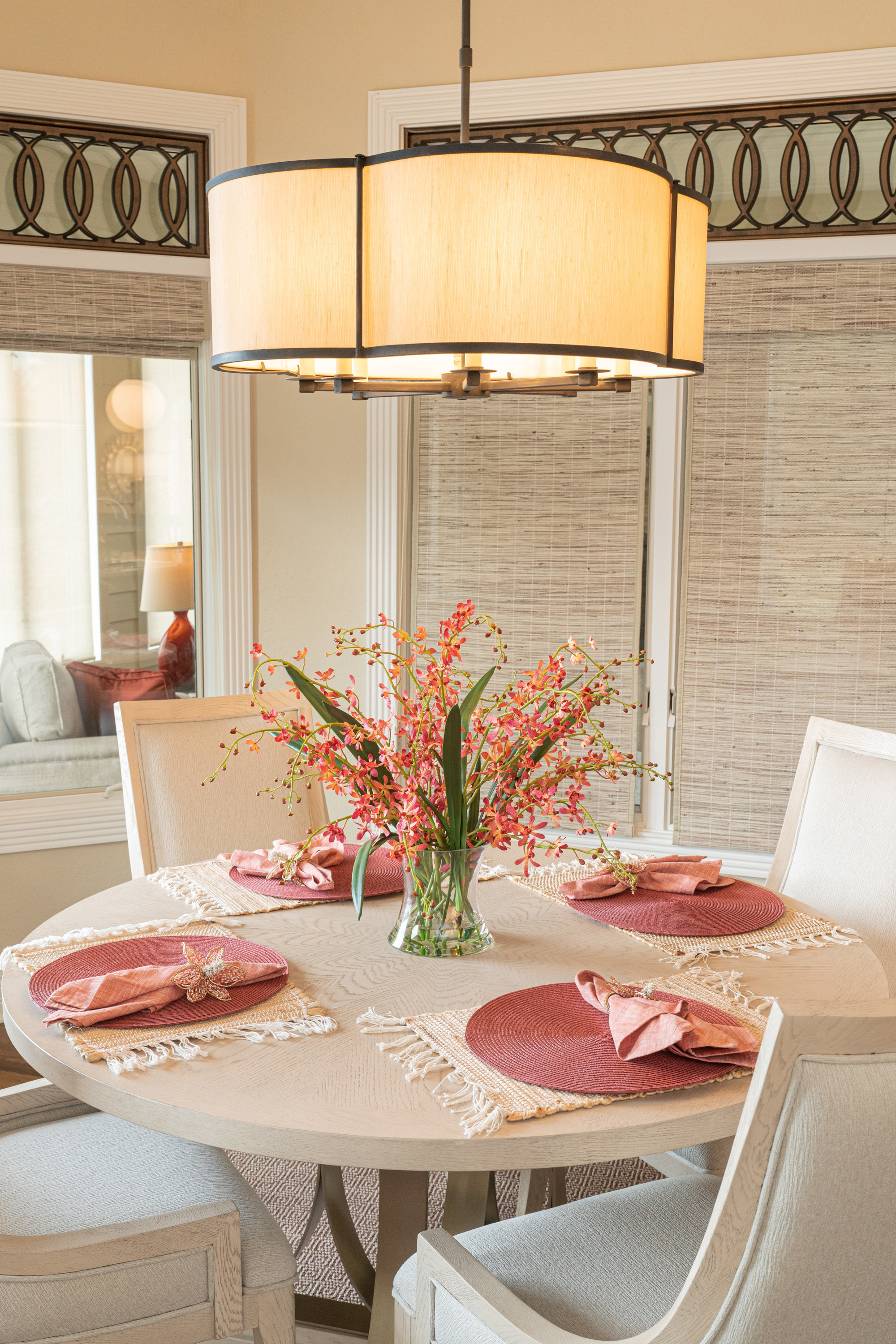 floral centerpiece on dining room