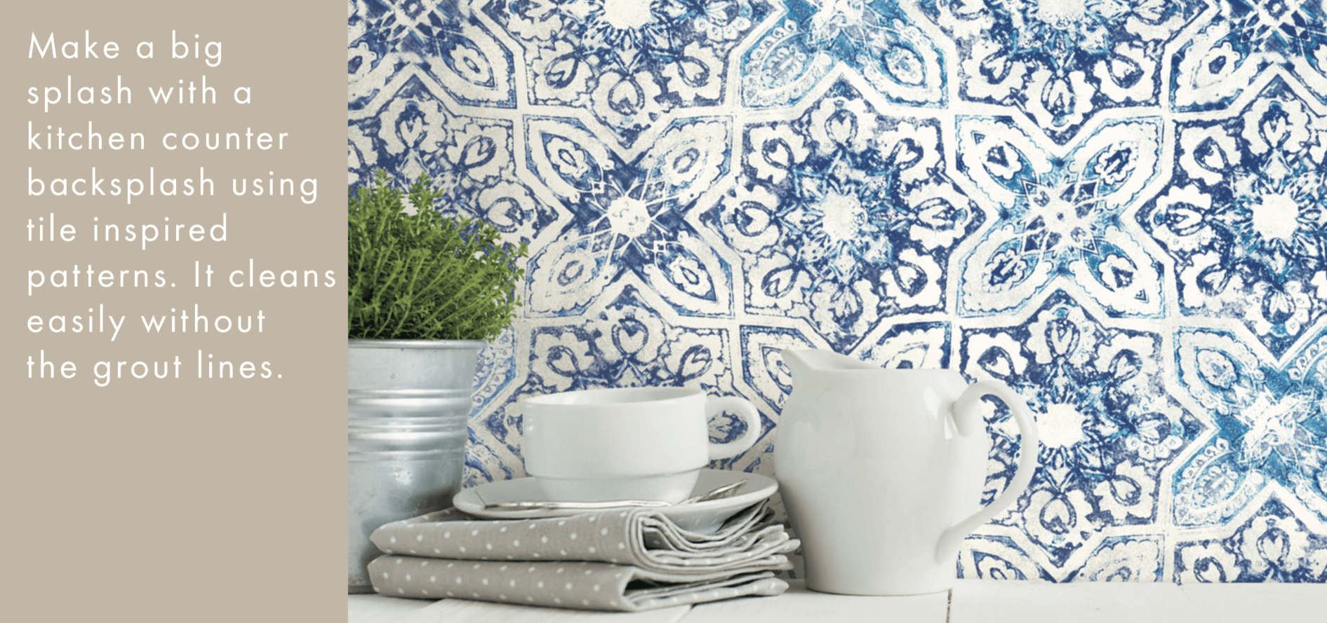 kitchen counter wallpaper backsplash