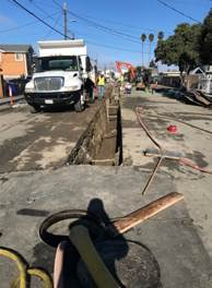 Forde trench line with shoring on 1st street