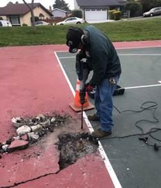 Basketball pole replacement Hilltop Green