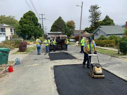 Asphalt work on San Benito