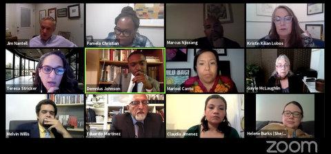 Twelve people in boxes in screenshot from Zoom meeting