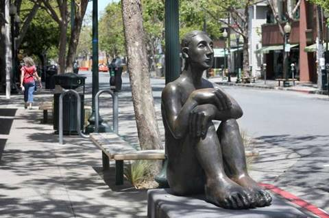 West BerkeleyÍs sculpture named Pablo sits in front of the empty Fourth Street retail district which is usually bustling during this lunch hour on Thursday, May 7, 2020, in Berkeley, Calif.