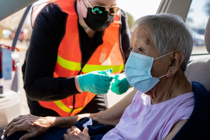 Army Veteran Veteran Dolores Rivera received her first Moderna COVID-19 vaccine at a mobile clinic in Hobbs, New Mexico, March 19, 2021.