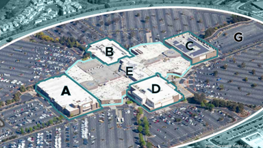An aerial view of the former Hilltop Mall, now rebranded as the East Bay Science and Technology Center under new plans by the owner to sell or lease the property.