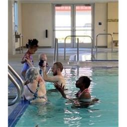 A group of people in a swimming pool    Description automatically generated with low confidence