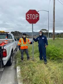 Stop Sign reinstall  at Regatta Blvd