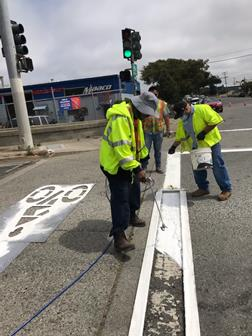 Hensley and Richmond Parkway crosswalk refresh and bike route install