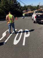 Stop Ahead installed in thermoplastic on Solano between Yuba and Sonoma (3)