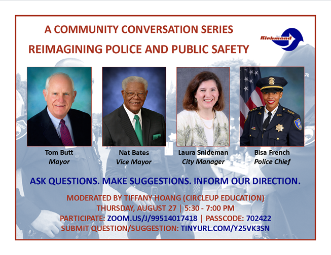 Reimagining Police and Public Safety in Richmond - Thursday August 27, 5:30pm to 7:30pm