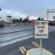 Two sided Do Not Stop On Tracks at Cutting Blvd RR Crossing