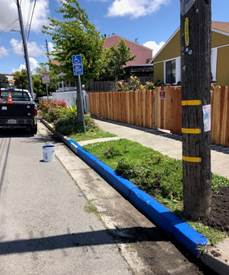 ADA sign and 20 feet of blue curb installed at 900 Lucas