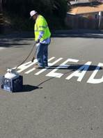 Stop Ahead installed in thermoplastic on Solano between Yuba and Sonoma (2)