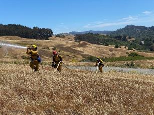 A group of firefighters working in a field    Description automatically generated with low confidence