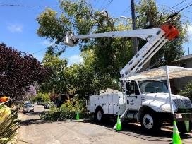 A white truck with a crane on top of it    Description automatically generated with low confidence