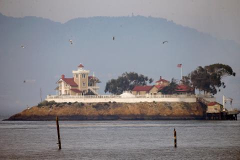RICHMOND, CA – JAN. 27: The historic East Brother Light Station, a fixture off the coast of Richmond, Calif. for 146 years, shines in the morning light, Sunday, Jan. 27, 2019. (Karl Mondon/Bay Area News Group)