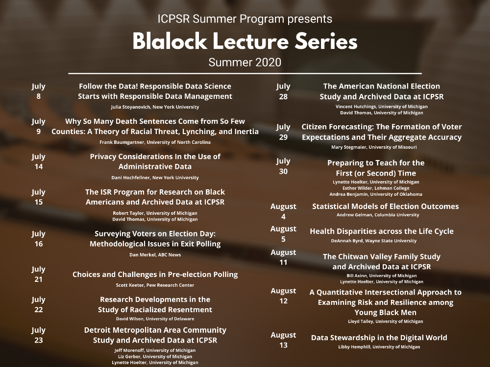 Image of Blalock Lecture Series schedule