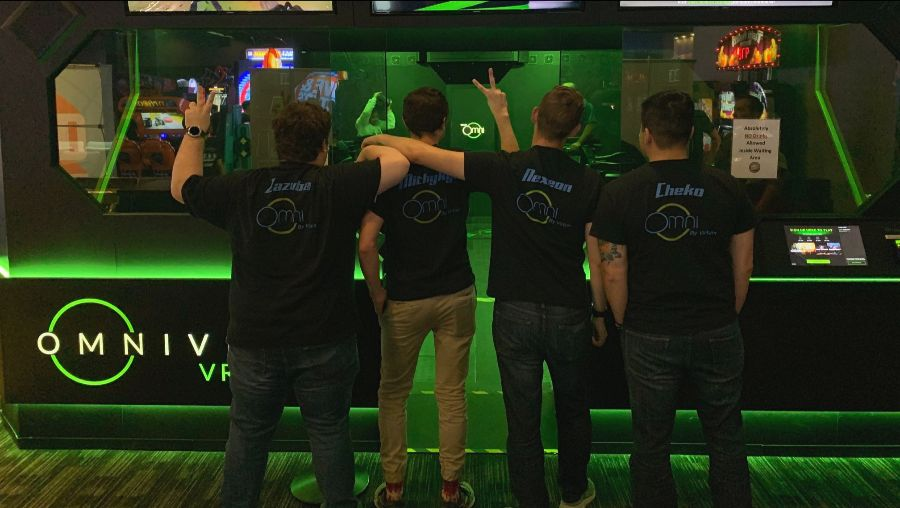 Team OK VR with their Omni Arena T-shirts