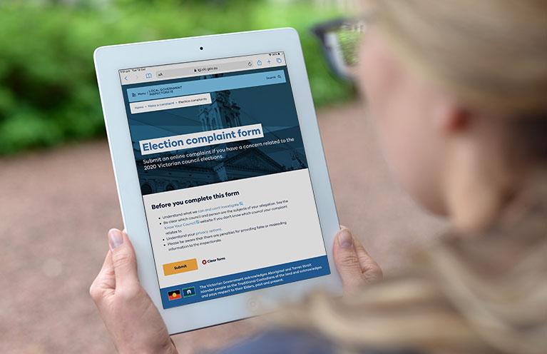 Woman accessing the LGI website on an iPad