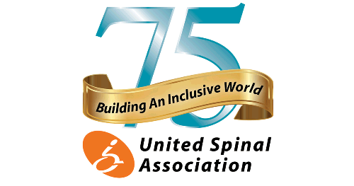 """Logo for United Spinal Association 75th Anniversary. Banner across """"75"""" says: Building An Inclusive World"""""""