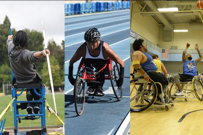3 images side-by-side left to right: photo of a para athlete in the back swing of throwing a javelin seated in a throwing chair on a field; a male para athlete wearing a helmet propelling his racing wheelchair on a blue turf track; 3 male wheelchair basketball players on the court during a game- one man has his hands up in the hair after throwing the ball to the hoop.