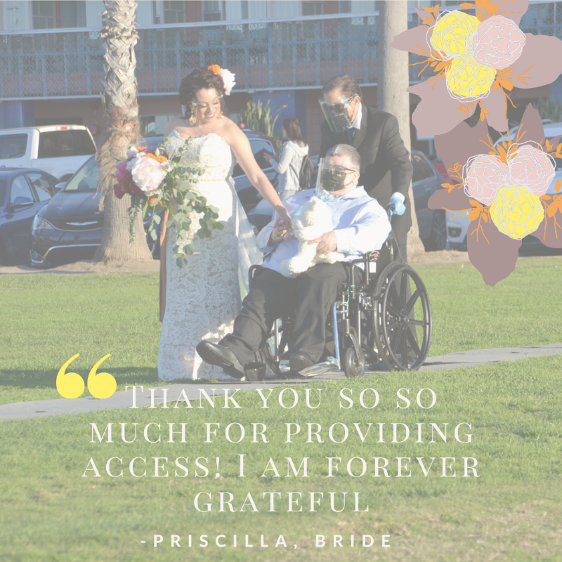 """Image shows a father seated in his wheelchair holding his daughter's hand as he escorts her at a park to her wedding ceremony. A man is pushing the father's wheelchair down a grey Access Trax pathway over grass. A quote says: """"Thank you so so much for providing access! I am forever grateful."""" - Priscilla, Bride"""