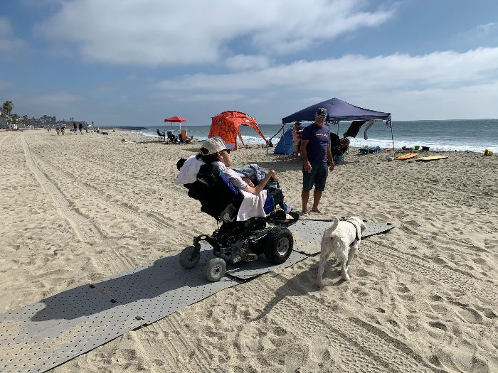 A man wearing a hat uses his power wheelchair on the grey Access Trax pathway over sand at the beach. There is a white lab on the sand to his right, and a man wearing a blue tshirt and shorts stands at the end of the path in front of him, ready to move the mats forward. It is a sunny day and the water is in the background.