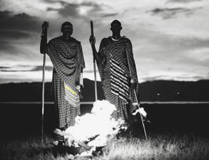 The Maasai overlooking a fire