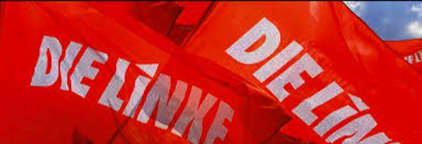 Rote Fahnen mit Aufschrift: DIE LINKE.