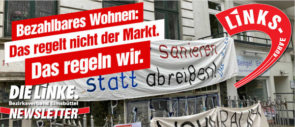 Linkskurve Header: Bezahlbares Wohnen: Das regelt nicht der Markt. Das regeln wir. Schrift vor Gebäude mit Transparent