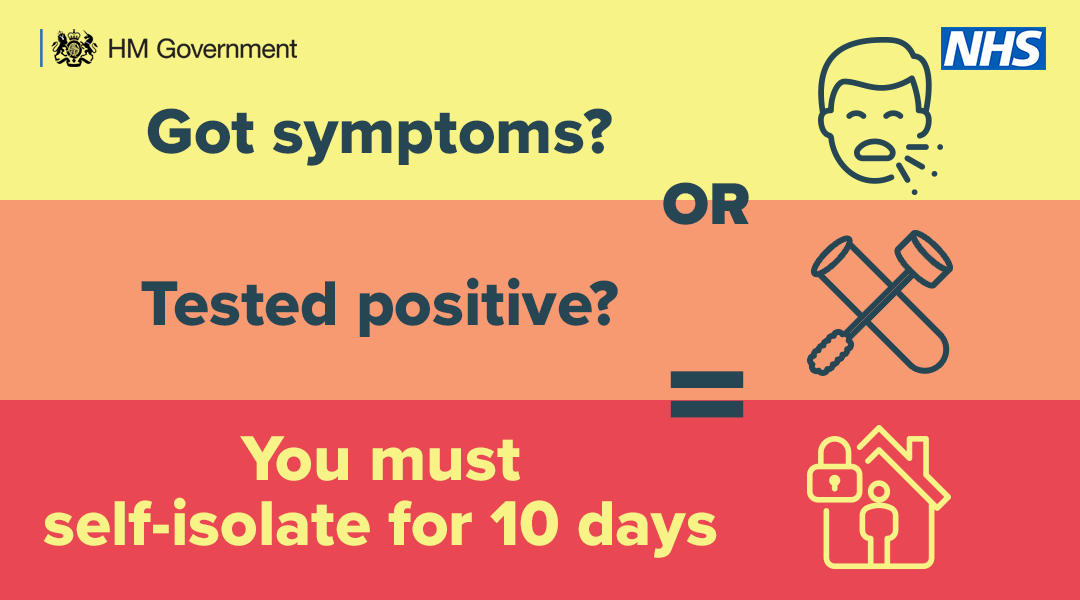 A yellow, orange and red graphic which says 'got symptoms? or tested positive? you must self isolate for 10 days.'